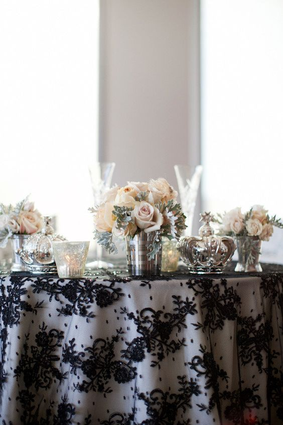 make your sweetheart table (or perhaps even your cake table) take centre stage with a black lace overlay or alternatively lace table runner