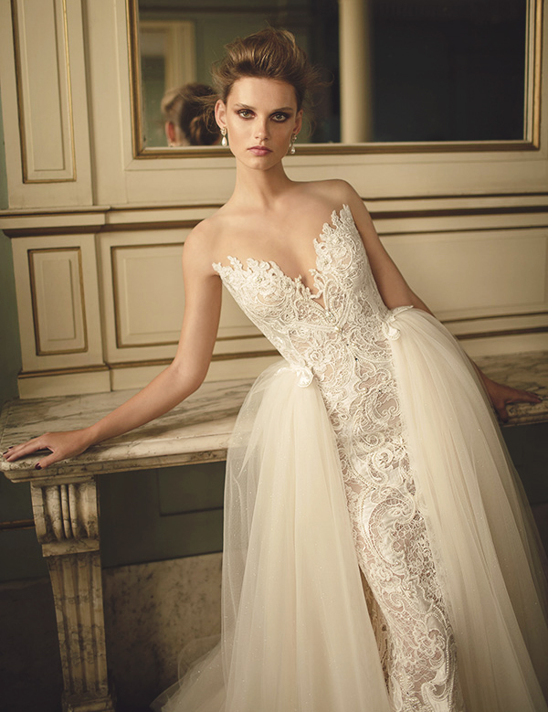 strapless lace sheath wedding dress of lace and a tulle overskirt - looks refined and gorgeous