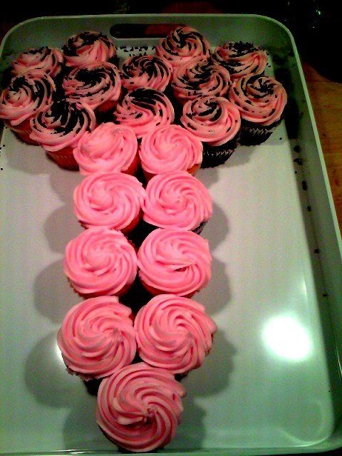 pink cupcakes served in a certain way for a bachelorette party