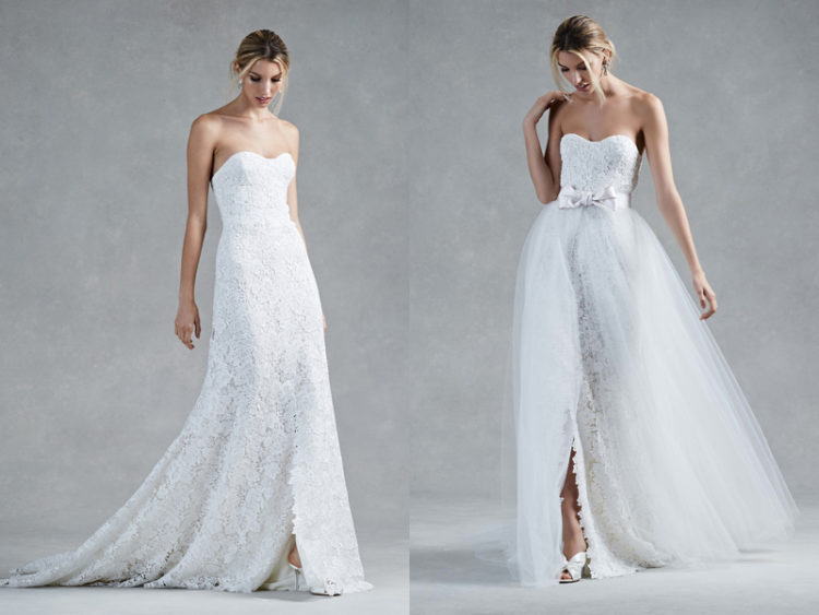 strapless lace A-line wedding dress and a lace overskirt with a bow for more volume