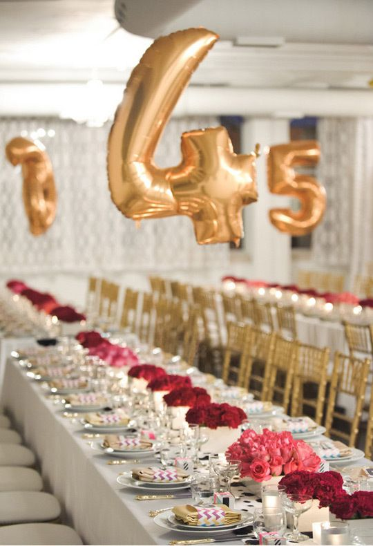 gold number balloons over each table will show your guests where to sit