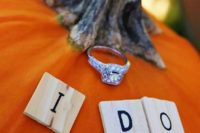 21 put your engagement ring on a pumpkin to embrace the fall