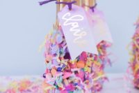 confetti to decorate bottles