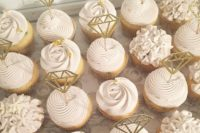 25 serve cupcakes with cool toppes like these diamonds that scream engagement