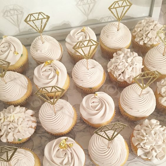 serve cupcakes with cool toppes like these diamonds that scream engagement