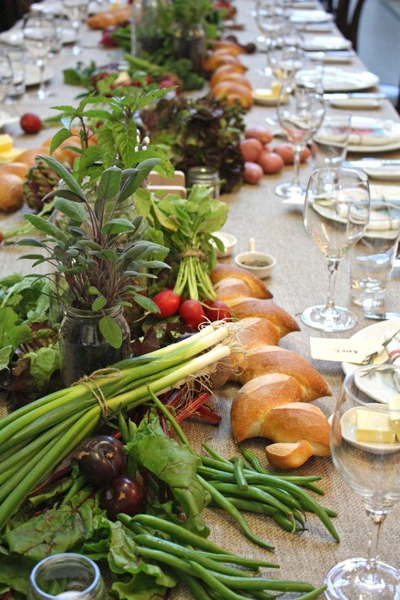 a market table runner for a farm or rustic wedding is a fun and cool idea