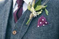 26 grey tweed three piece wedding suit with a plum tie and handkerchief