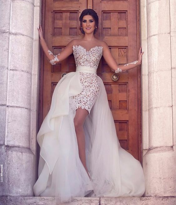 Illusion Strapless Short Lace Wedding Dress With A Full Overskirt For The Ceremony