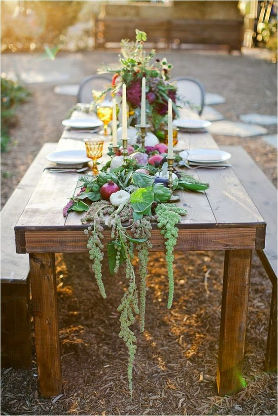 a foodie and greenery table runner for a rustic backyard wedding