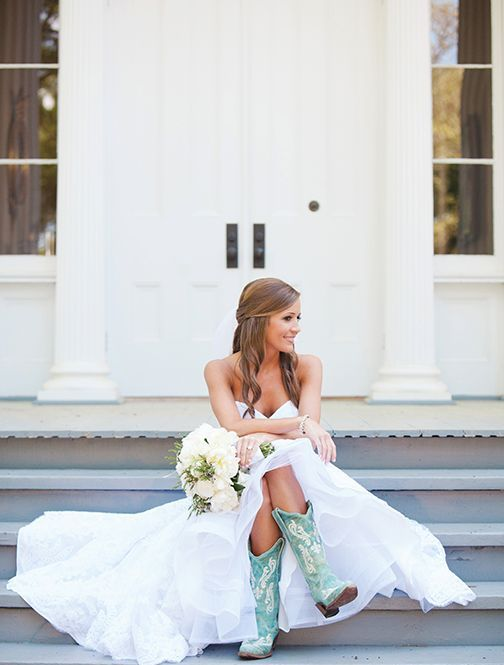 why not wear turquoise cowboy boots on your wedding day for a fun ranch touch