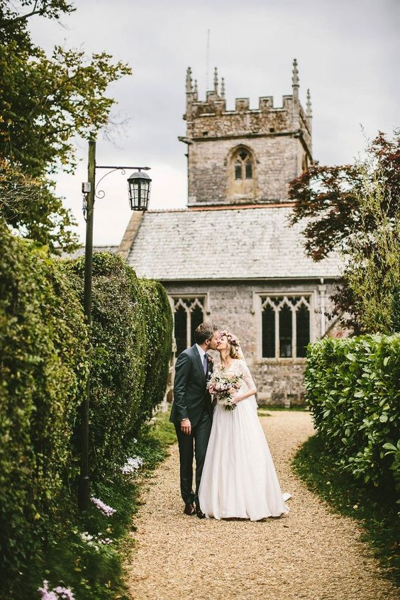 ethereal couple's portrait at an English castle
