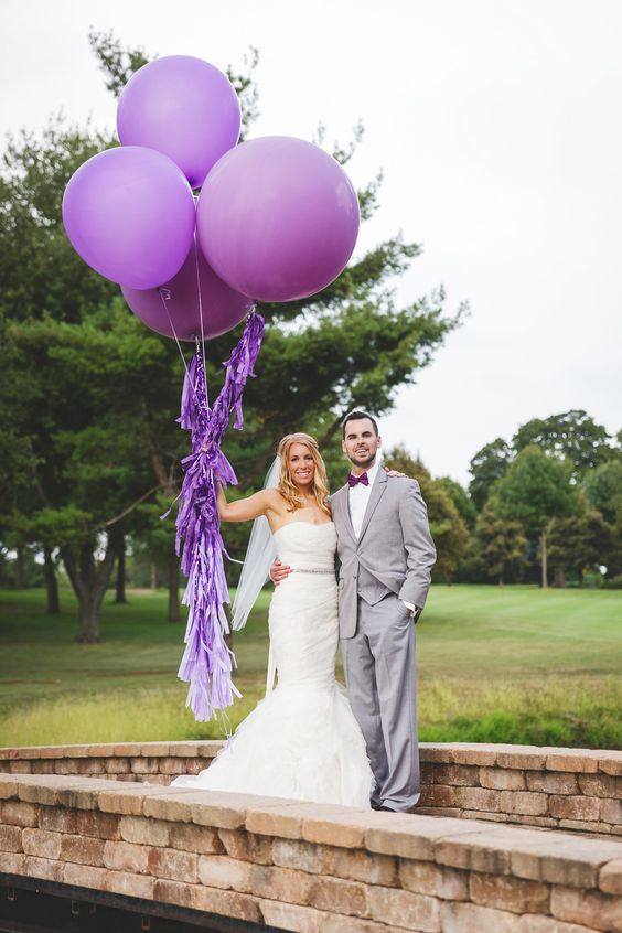 rock giant purple balloons with fringe and some matching accessories