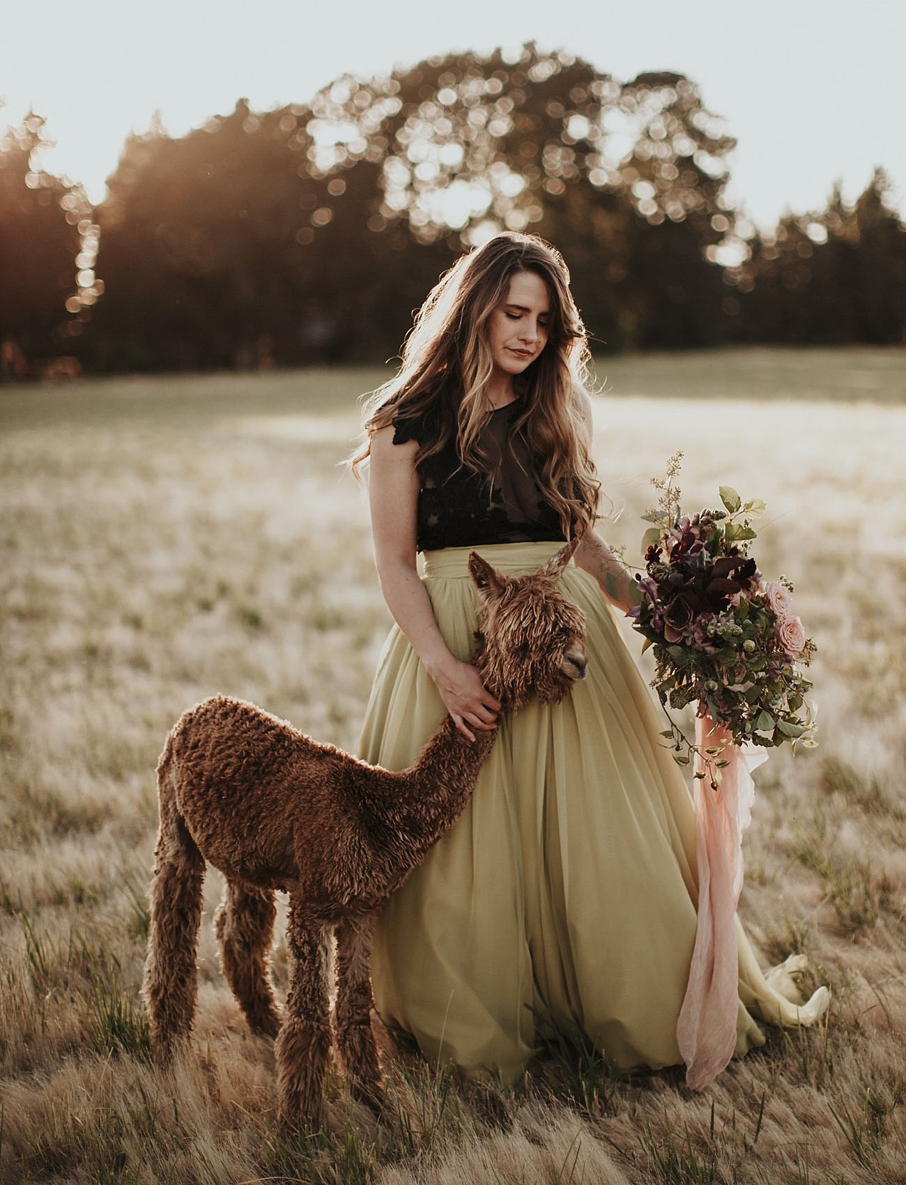 This gorgeous bridal shoot took place in woodlands and on a farm, with alpacas, let's dip into fall shades