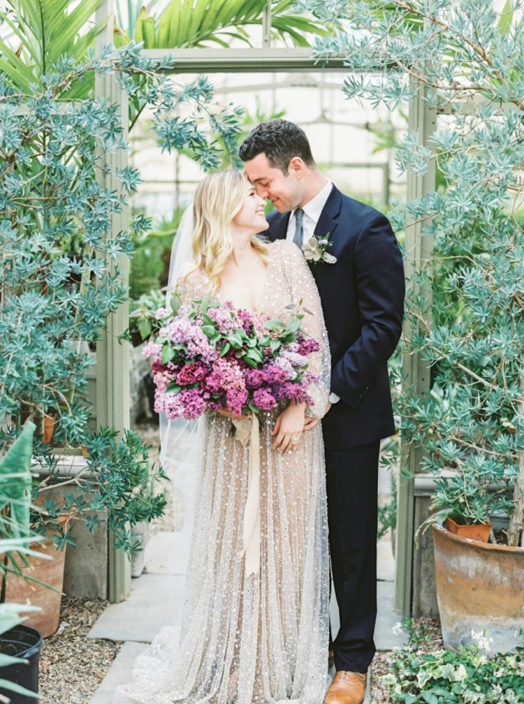 Lovely Lilac Wedding Shoot In A Greenhouse