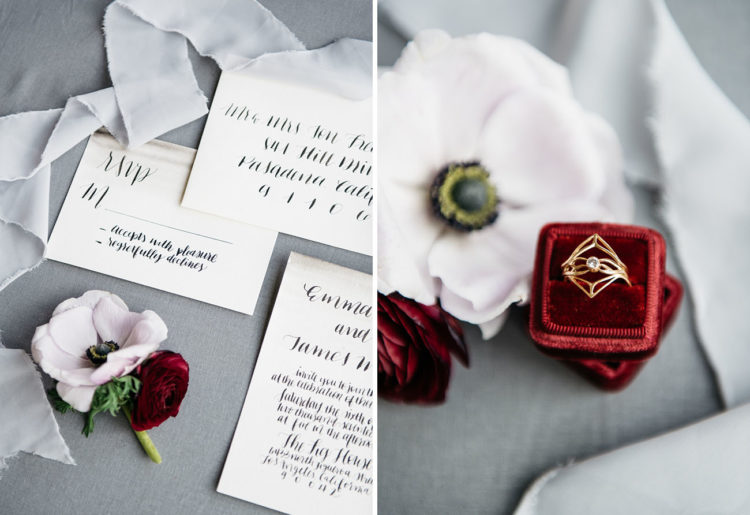 The art deco inspired wedding stationery and a gorgeous art deco wedding ring