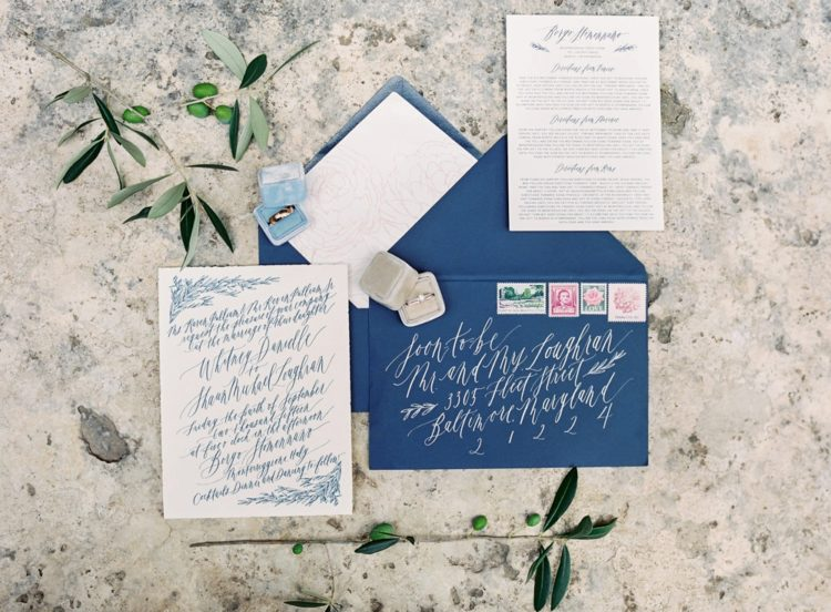 The wedding stationery was done in blue in order to have something blue, which is a popular tradition