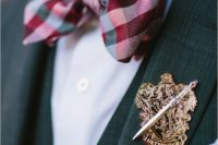 02 a Gryffindor boutonniere and a plaid bow tie are stylish accents for a magical look