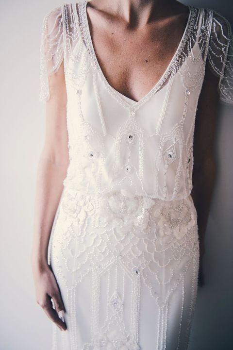 Deco Wedding Dress 66 Elegant a deep V neckline