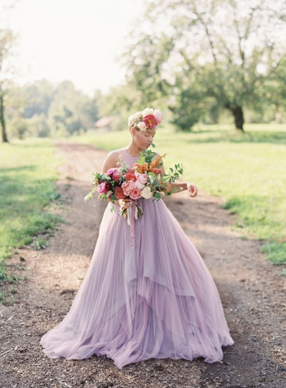 Picture of a lavender wedding dress without sleeves and with a picture of a lavender wedding dress without sleeves and with a layered skirt junglespirit