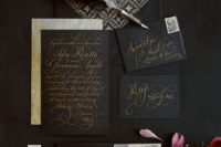 02 black wedding stationery with gorgeous gold calligraphy and beautiful printed lining