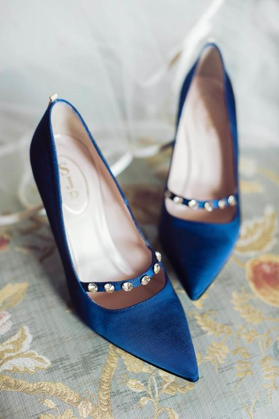 indigo wedding shoes with a rhinestone row look chic and refined