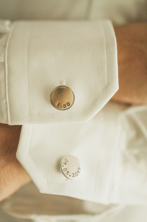 I DO and wedding date cufflinks for a personalized look on the big day