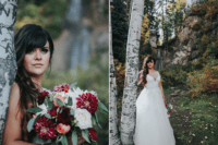 03 The bride was wearing a gorgeous illusion plunging neckline gown, loose waves and was carrying a cool burgundy-touched bouquet