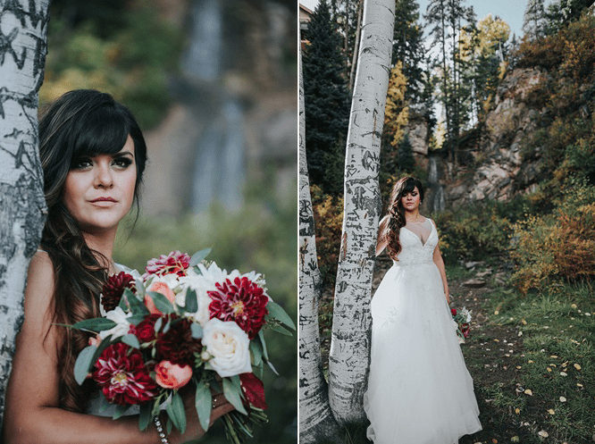 The bride was wearing a gorgeous illusion plunging neckline gown, loose waves and was carrying a cool burgundy-touched bouquet