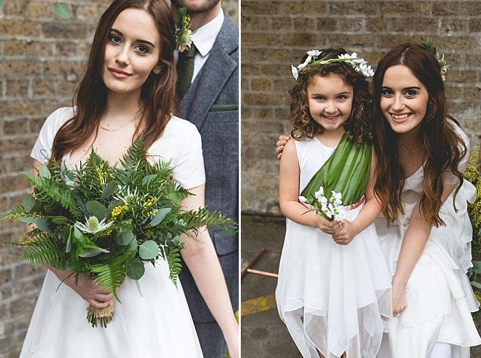 The flower girl was rocking a white dress with a green part and a floral crown for a cute look
