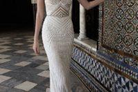 03 a heavily beaded spaghetti strap sheath wedidng dress