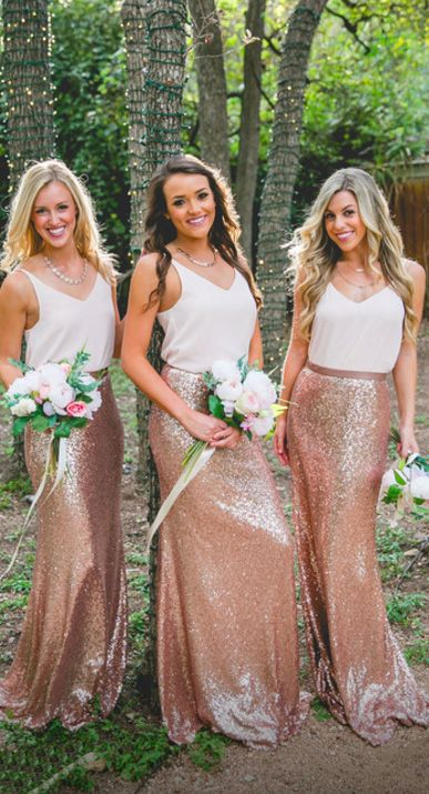 bridesmaids in white tops and copper sequin maxi skirts look glam and chic