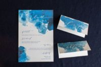03 watercolor indigo wedding invitations and cards with calligraphy