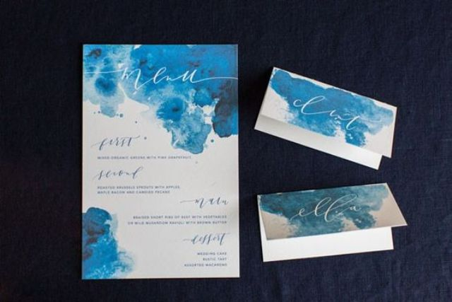 watercolor indigo wedding invitations and cards with calligraphy