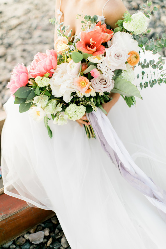 All the wedding florals were done with pink, red, blush blooms and greenery
