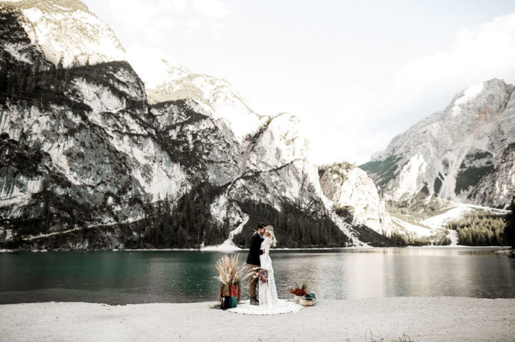 The ceremony took place on the mountain lake shore, not much decor needed because the place is picturesque