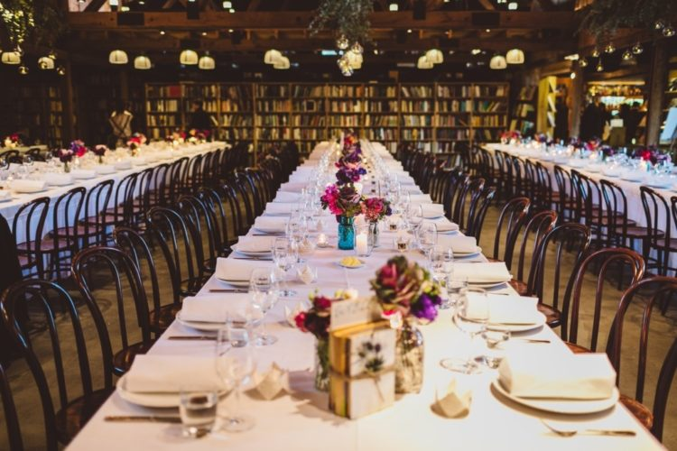 The venue was a cozy one, with lots of books, and much decor was DIYed by the couple