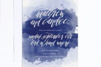 04 a bold watercolor indigo wedding invite with white letters