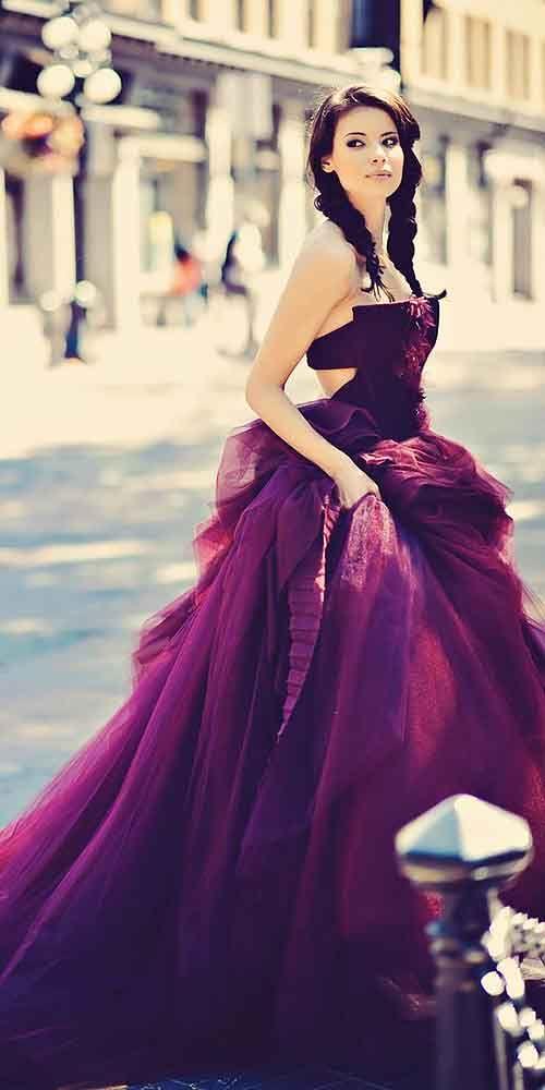 a strapless purple wedding ballgown for a daring bride