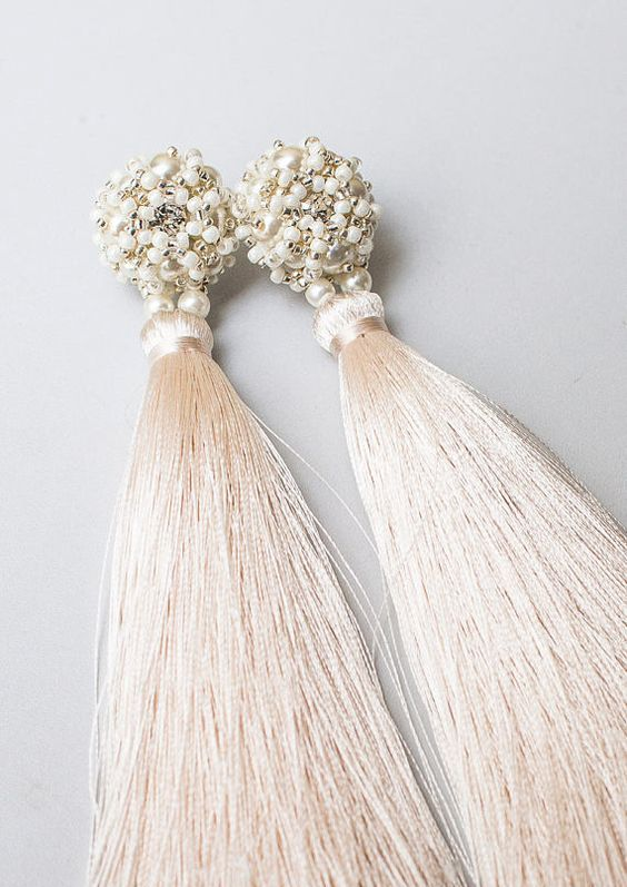 champagne tassel earrings with pearls and beads look luxurious