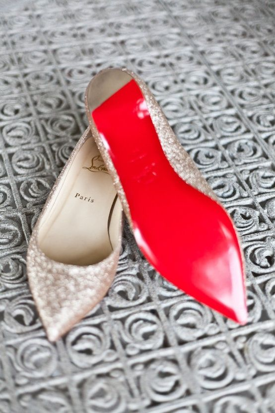 gold glitter wedding flats with red bottoms by Christian Louboutin