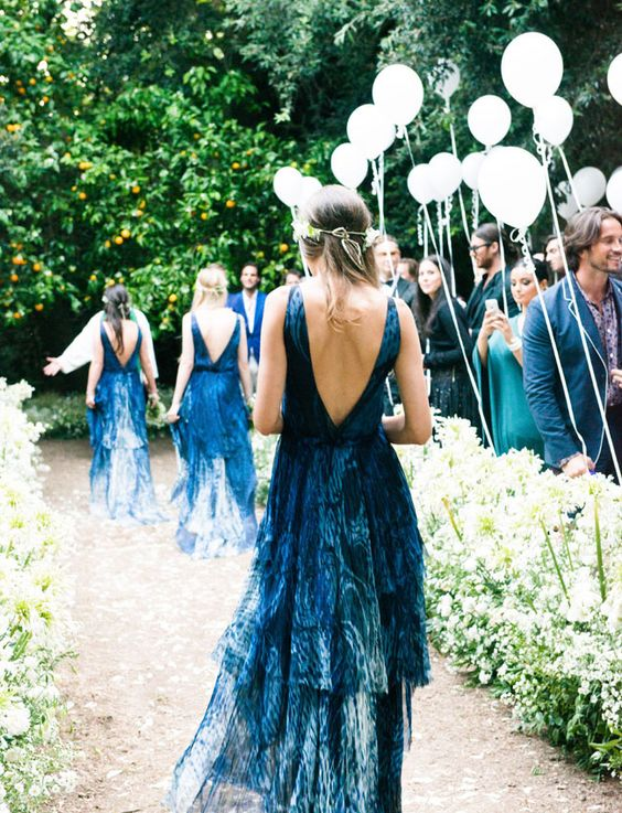 low back indigo dyed bridesmaids' dresses will catch everybody's eye