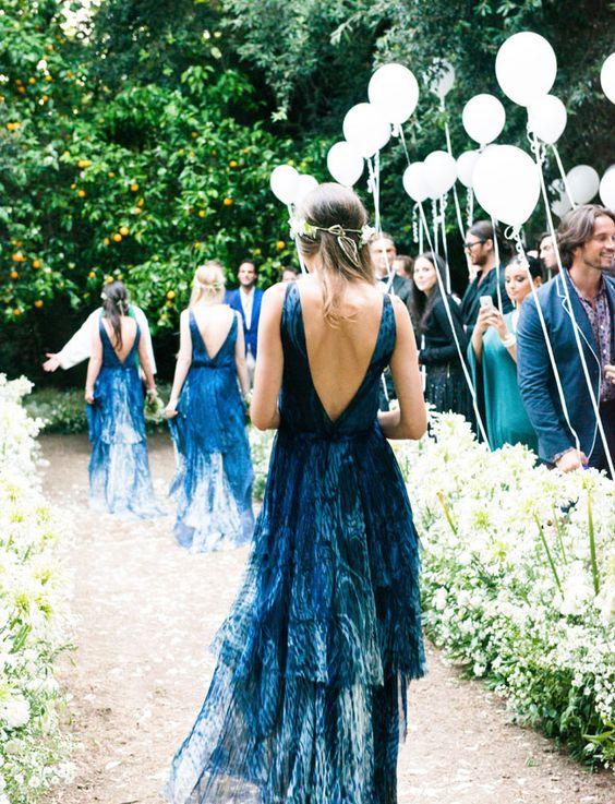 low back indigo dyed bridesmaids' dresses will catch everybody's eye