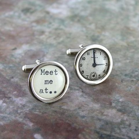 silver time cufflinks that will show your wedding ceremony time