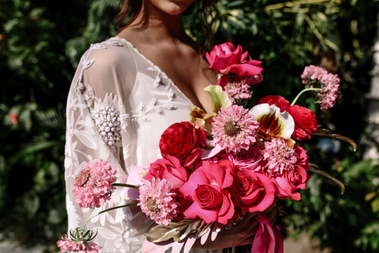 Her bouquet was pink and fuchsia for a gorgeous look