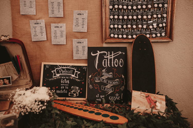 Tattoo and skateboard inspired seating chart space