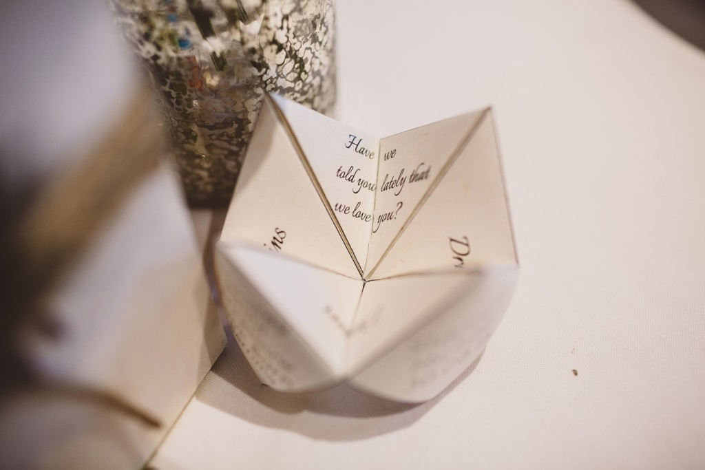 The bride and groom designed these origami fortune tellers and menus themselves