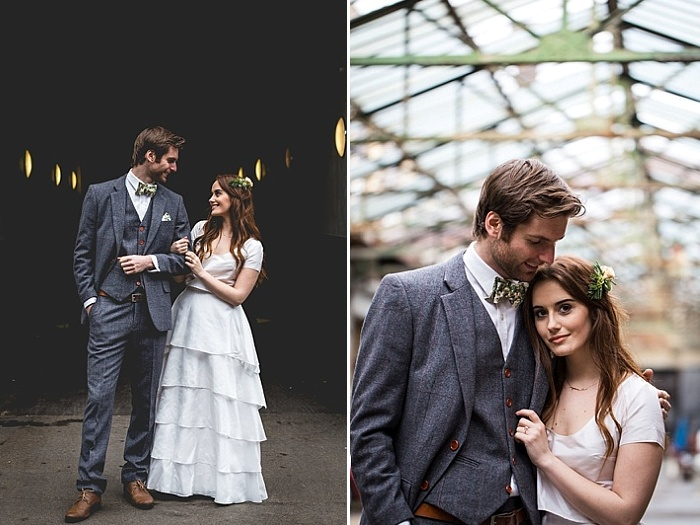 The bride was wearing a simple separate with a crop top and a layered ruffle maxi skirt