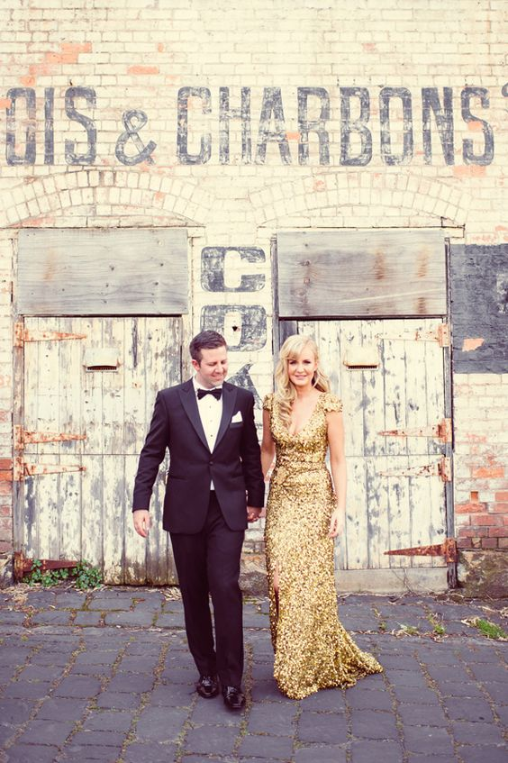 a gold sequin wedding dress with cap sleeves and a V-neckline