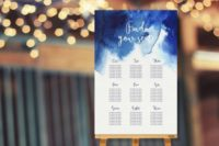 05 a watercolor indigo wedding seating chart looks impressive