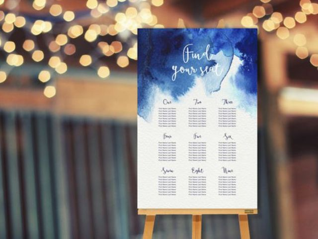 a watercolor indigo wedding seating chart looks impressive